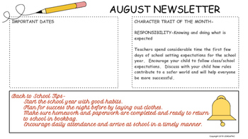 Traditional School Calendars and Newsletters 2016-17