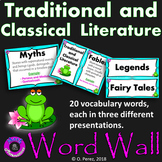 Traditional and Classical Literature Word Wall - Blue and Black Frame