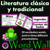 Traditional and Classical Literature Word Wall in Spanish- Blue and Black Frame
