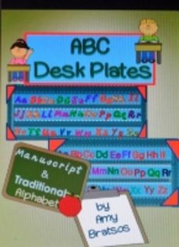 Traditional and Manuscript Alphabet Desk Plates or Individual Alphabet Cards