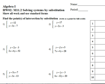 Traditional worksheets on systems of equations - whole chapters worth