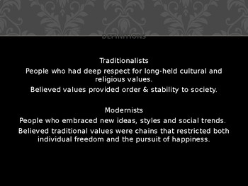 Traditionalism Vs. Modernism