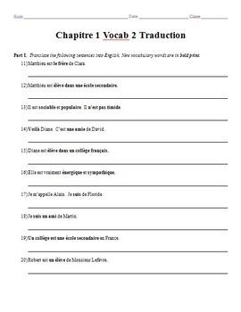 Bon Voyage Chapitre 1 Vocabulaire Mots 1-2 Traduction Worksheets