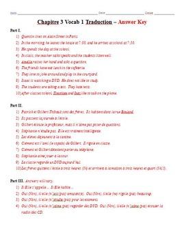 Bon Voyage Chapitre 3 Vocabulaire Mots 1-2 Traduction Worksheets