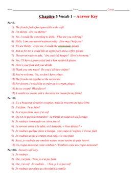 Bon Voyage Chapitre 5 Vocabulaire Mots 1 Traduction Worksheet