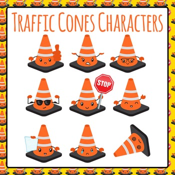 Traffic Cone Characters with Expressions and Emotions Commercial Use Clip Art