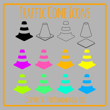 Traffic Cones Icons Clip Art Set Commercial Use