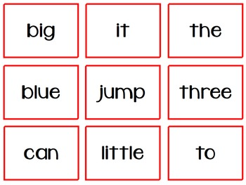 Traffic Jam Dolch Word Game Pre-Primer