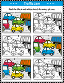 Traffic Jam Visual Puzzle and Coloring Page, Commercial Us