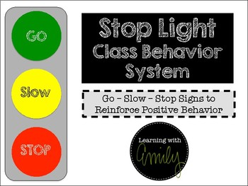 Traffic light behavior chart by learning with emily tpt