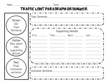 Traffic Light Paragraph Graphic Organizers FREEBIE