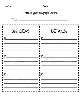 Traffic Light Paragraph Writing Packet