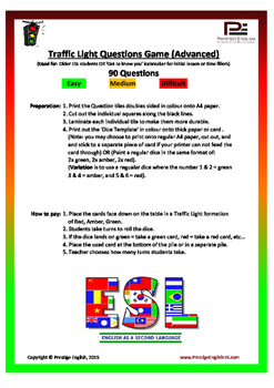 Traffic Light Questions Game - Advanced/Adult ESL