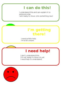 Traffic Light Self Assessment Correction Tray Labels