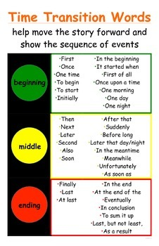 traffic light time transition words poster for narratives ccss