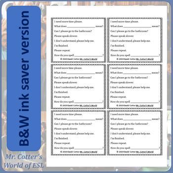 Beginner ESL Student Help Cards