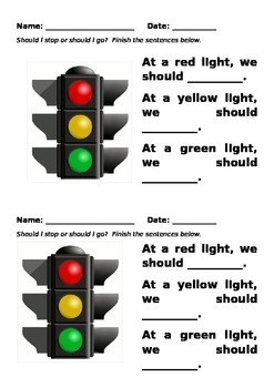 Traffic Rules Worksheet EDITABLE