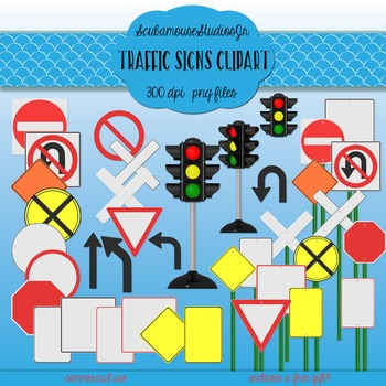 Traffic Signs Clipart, commercial use, construction clipart