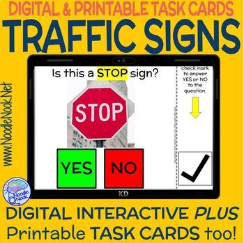 Traffic Signs DIGITAL & PRINTABLE Yes-No Task Cards (DISTANCE LEARNING)