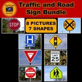 Traffic and Road Sign 2D Flat Shapes Stock Photos Bundle
