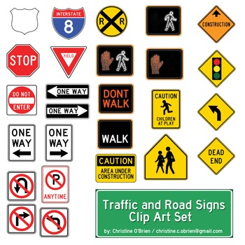 Traffic and Road Signs Clip Art Set