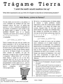 Tragame Tierra: Authentic Readings for Preterite Imperfect