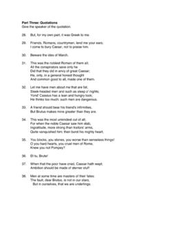 Tragedy of Julius Caesar Shakespeare Final Exam