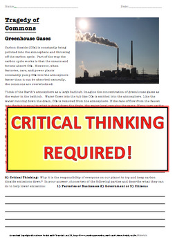 Environmental Science Work Packet - Tragedy of the Commons