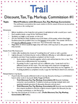 trail discount tax tip markup commission 1 by kelly fitzgerald math. Black Bedroom Furniture Sets. Home Design Ideas