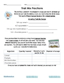 Trail Mix Fractions Activity Sheet | Improper Fractions & Mixed Numbers | CCSS
