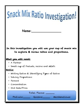 Trail Mix Ratio and Proportion Investigation