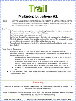Trail: Multistep Equations (Combining Like Terms/Distribut