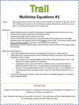 Trail: Multistep Equations Set of 3 (Combining Like Terms/Distributive Property)