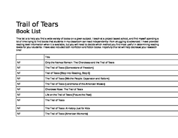 Trail of Tears, Book List