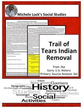 Trail of Tears Cherokee Native Removal American Document Analysis Activity