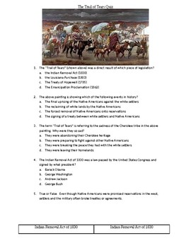 Trail of Tears/Indian Removal Act Graphic Organizer