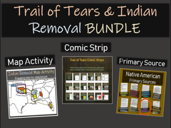 Trail of Tears & Indian Removal Bundle (Comic & Map Activi