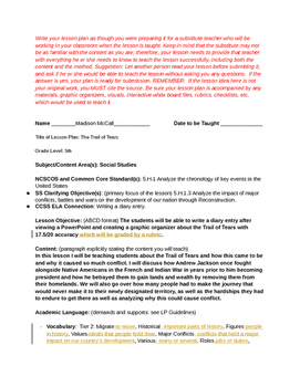 Trail of Tears Lesson Plan!
