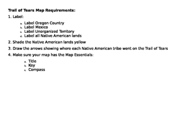 Trail of Tears Map Activity