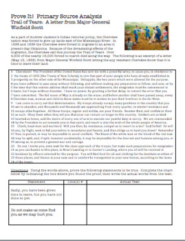 Trail of Tears:  Prove It! Primary Source Analysis