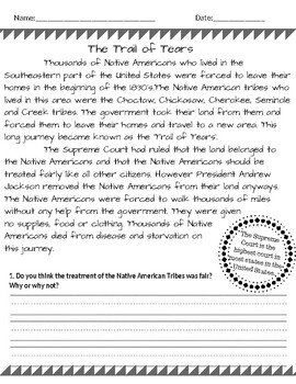 Trail of Tears - Read and Respond