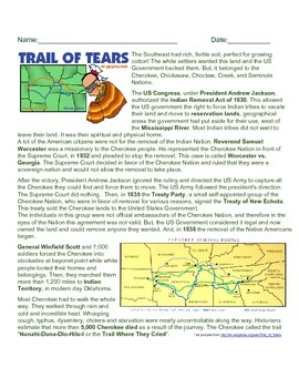 Trail of Tears Reader and Question Sheet