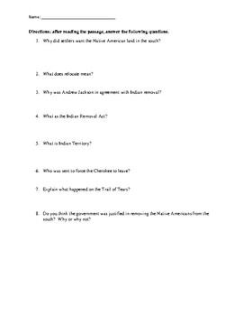 Trail of Tears Reading Comprehension Worksheet