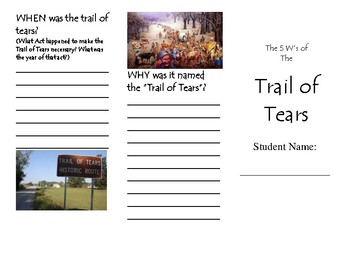 Trail of Tears Summary brochure