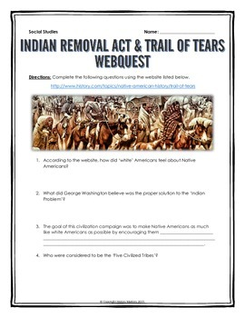 Trail of Tears and Indian Removal Act - Webquest with Key by History ...