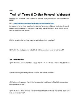 Trail of Tears and Indian Removal Webquest
