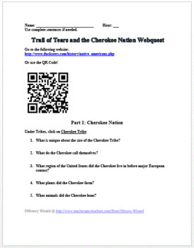 Trail of Tears and the Cherokee Nation Webquest