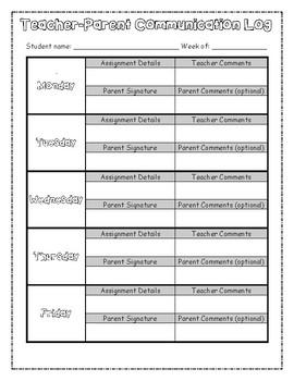 Weekly Parent-Teacher Communication Log