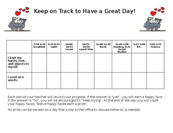 behavior sheets for elementary students