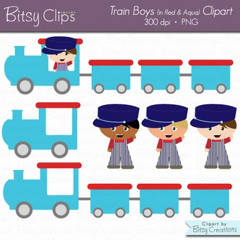 Train Boys in Blue and Aqua  Clipart Commercial Use Clip Art